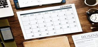calendar on table