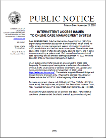 Intermittent Access Issues to Online Case Management System