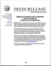 Needles Courthouse To Reopen Once Per Month