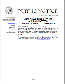 Public Notice Victorville Child Support And Civil Matters Scheduled To Move